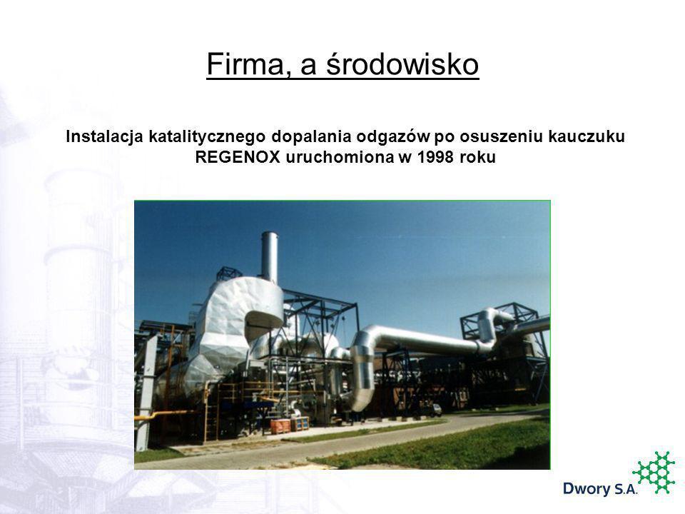 Firma, a środowisko Instalacja katalitycznego dopalania odgazów po osuszeniu kauczuku REGENOX uruchomiona w 1998 roku.