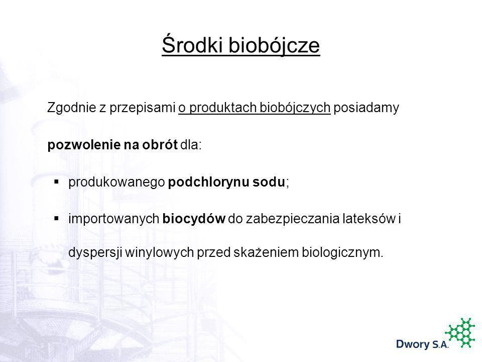 Środki biobójcze Zgodnie z przepisami o produktach biobójczych posiadamy. pozwolenie na obrót dla: