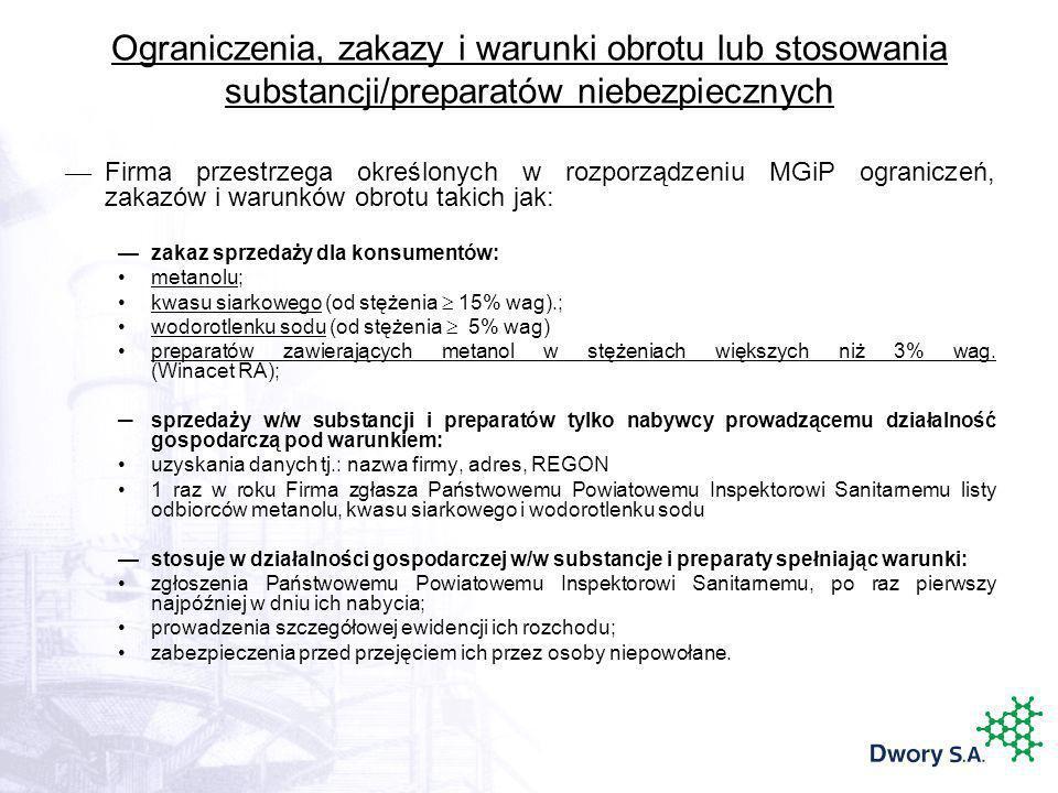 Ograniczenia, zakazy i warunki obrotu lub stosowania substancji/preparatów niebezpiecznych