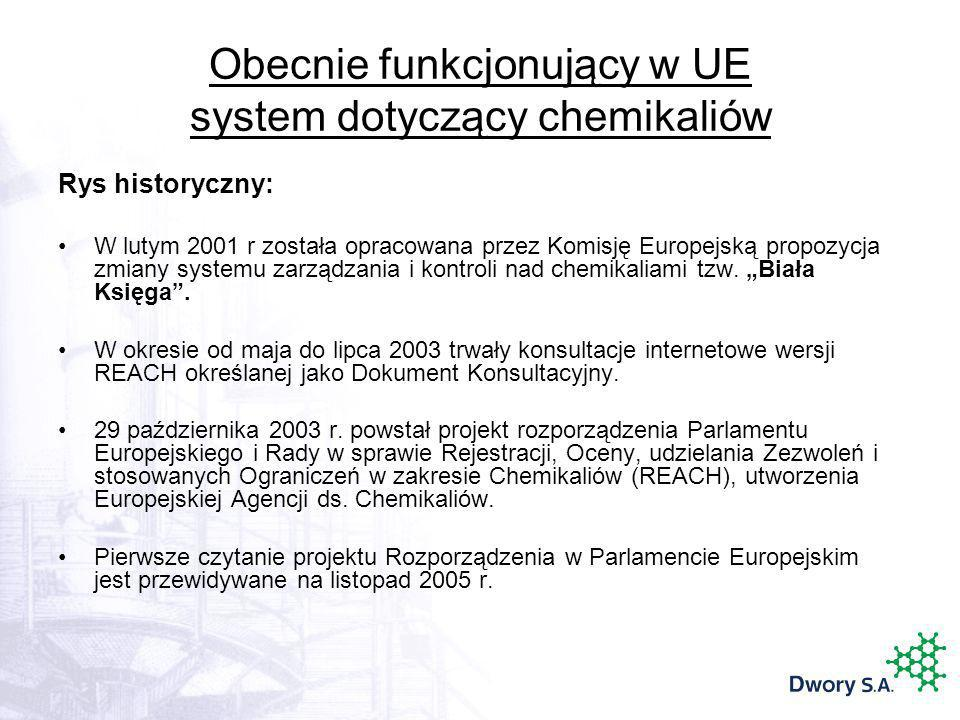 Obecnie funkcjonujący w UE system dotyczący chemikaliów