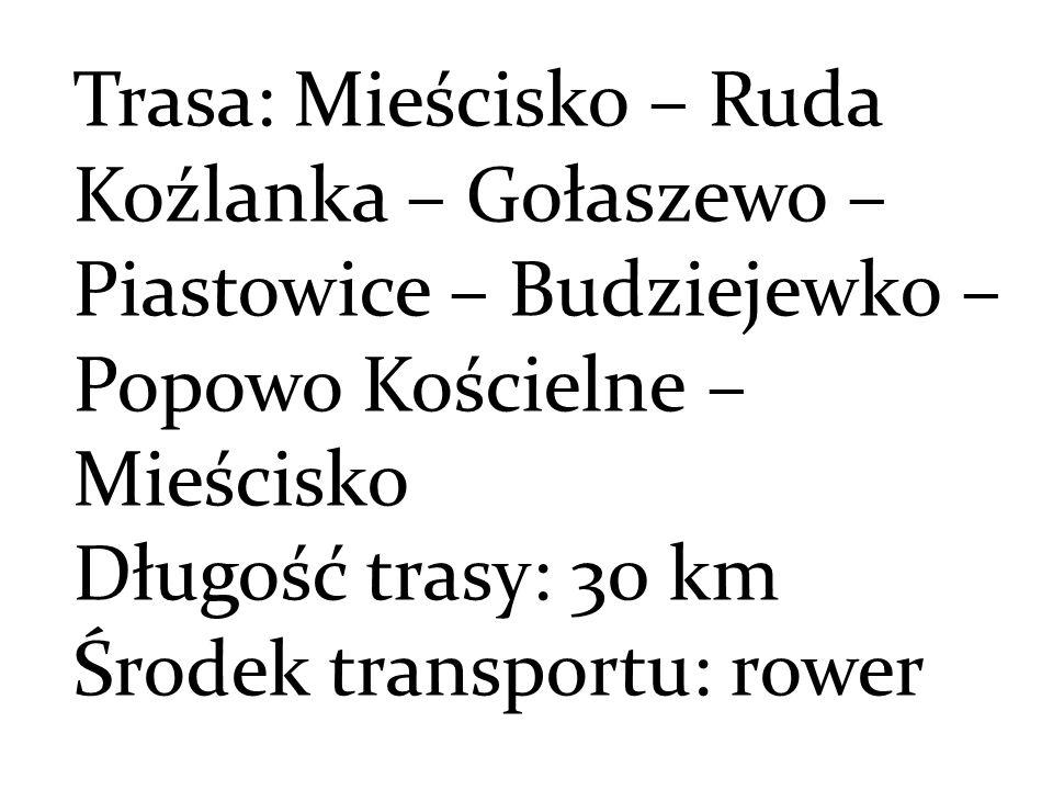Trasa: Mieścisko – Ruda Koźlanka – Gołaszewo – Piastowice – Budziejewko – Popowo Kościelne – Mieścisko