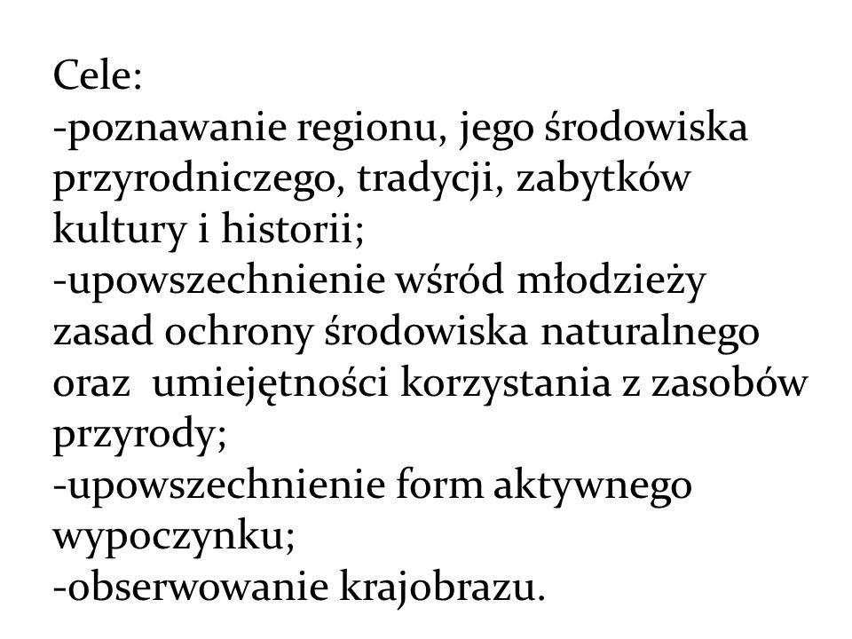 Cele: -poznawanie regionu, jego środowiska przyrodniczego, tradycji, zabytków kultury i historii;