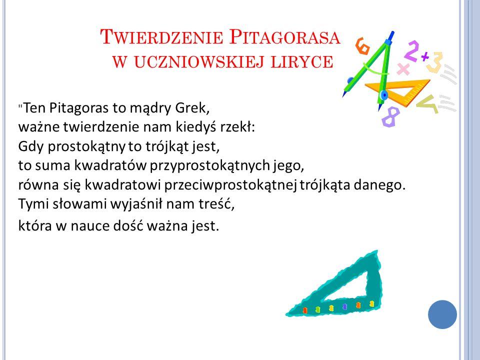 Twierdzenie Pitagorasa w uczniowskiej liryce