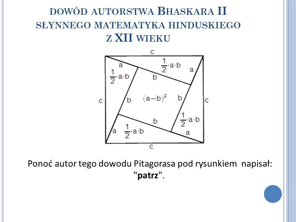 Ponoć autor tego dowodu Pitagorasa pod rysunkiem napisał: patrz .