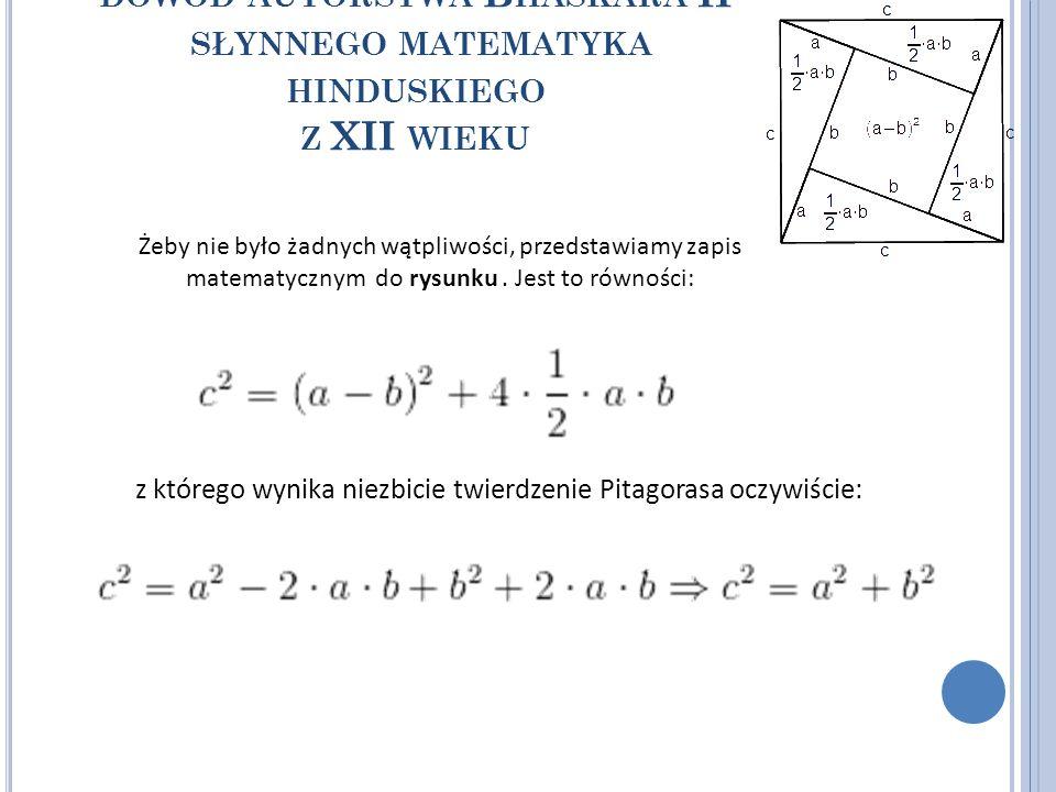 z którego wynika niezbicie twierdzenie Pitagorasa oczywiście: