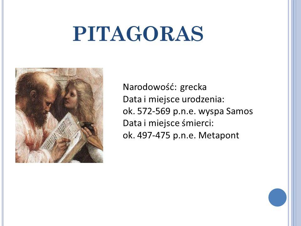 PITAGORAS Narodowość: grecka Data i miejsce urodzenia: