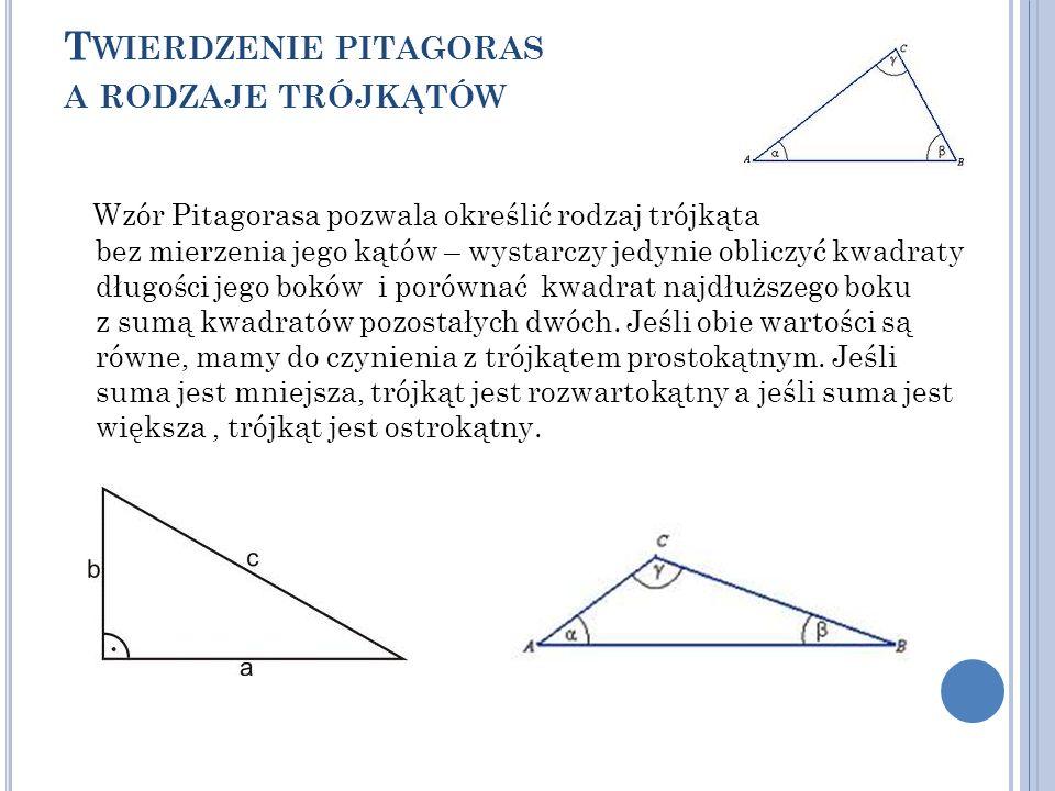 Twierdzenie pitagoras a rodzaje trójkątów