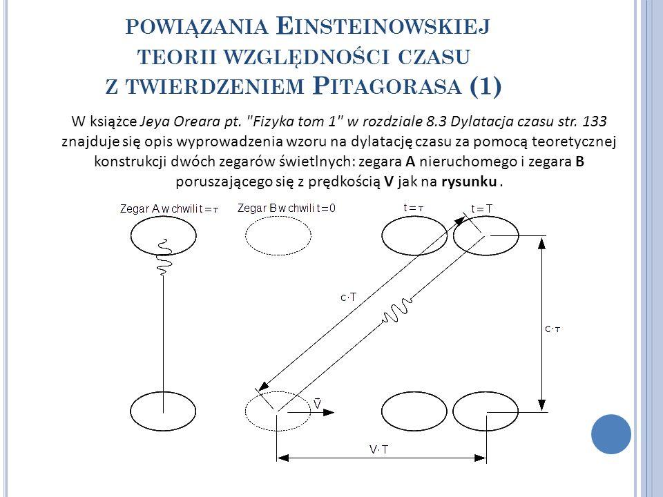 powiązania Einsteinowskiej teorii względności czasu z twierdzeniem Pitagorasa (1)