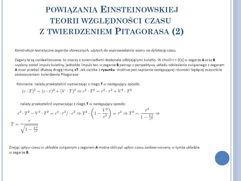 powiązania Einsteinowskiej teorii względności czasu z twierdzeniem Pitagorasa (2)