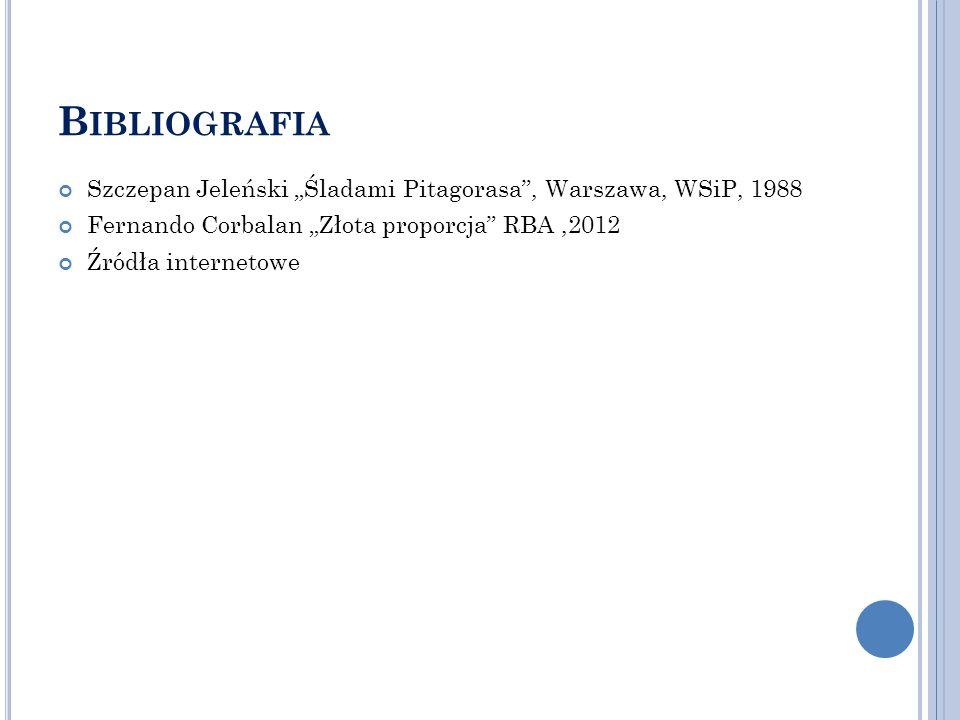 """Bibliografia Szczepan Jeleński """"Śladami Pitagorasa , Warszawa, WSiP, 1988. Fernando Corbalan """"Złota proporcja RBA ,2012."""