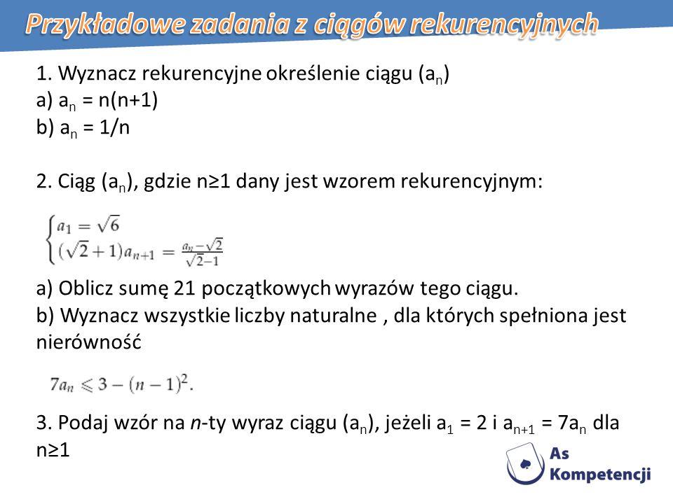 Przykładowe zadania z ciągów rekurencyjnych