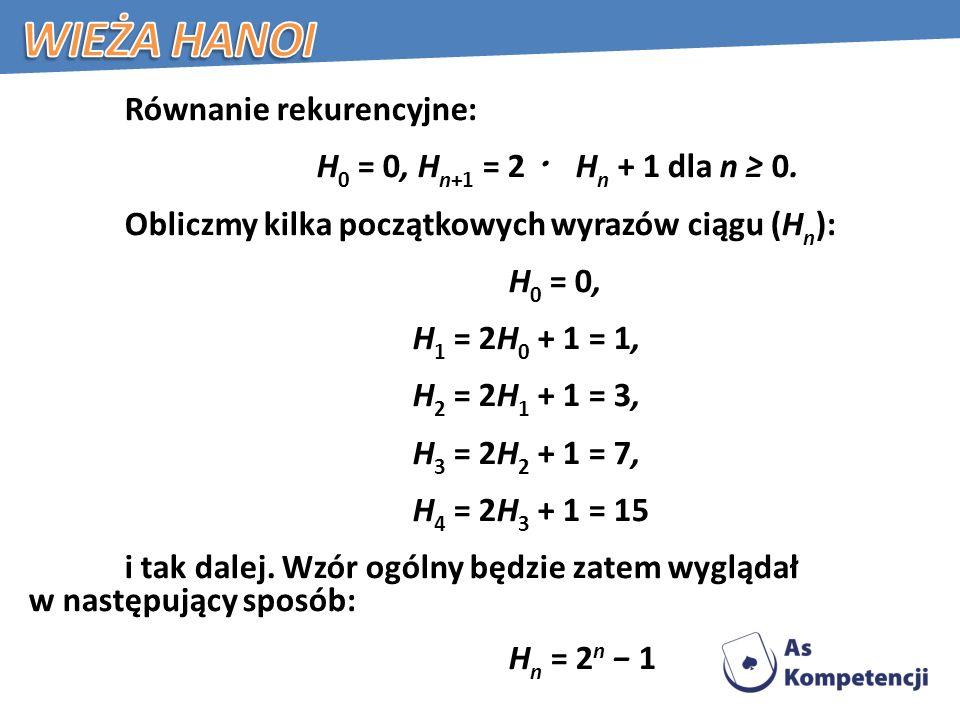 Wieża Hanoi H0 = 0, Hn+1 = 2 ・ Hn + 1 dla n ≥ 0.