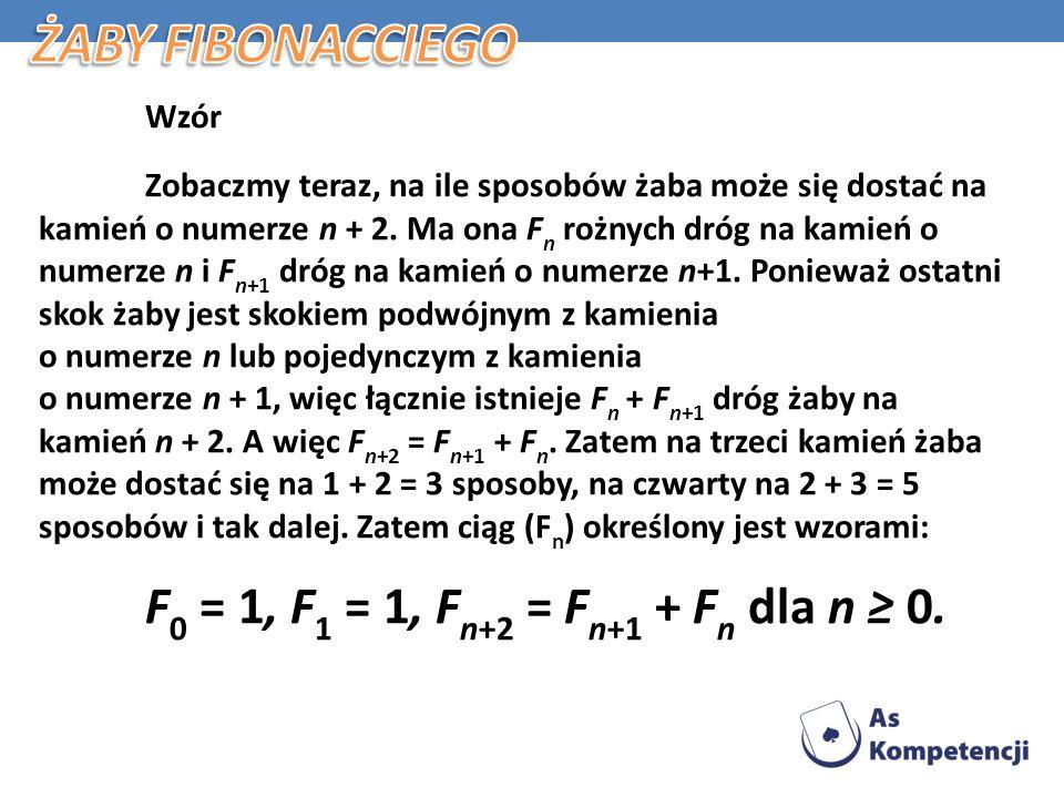 Żaby Fibonacciego F0 = 1, F1 = 1, Fn+2 = Fn+1 + Fn dla n ≥ 0. Wzór