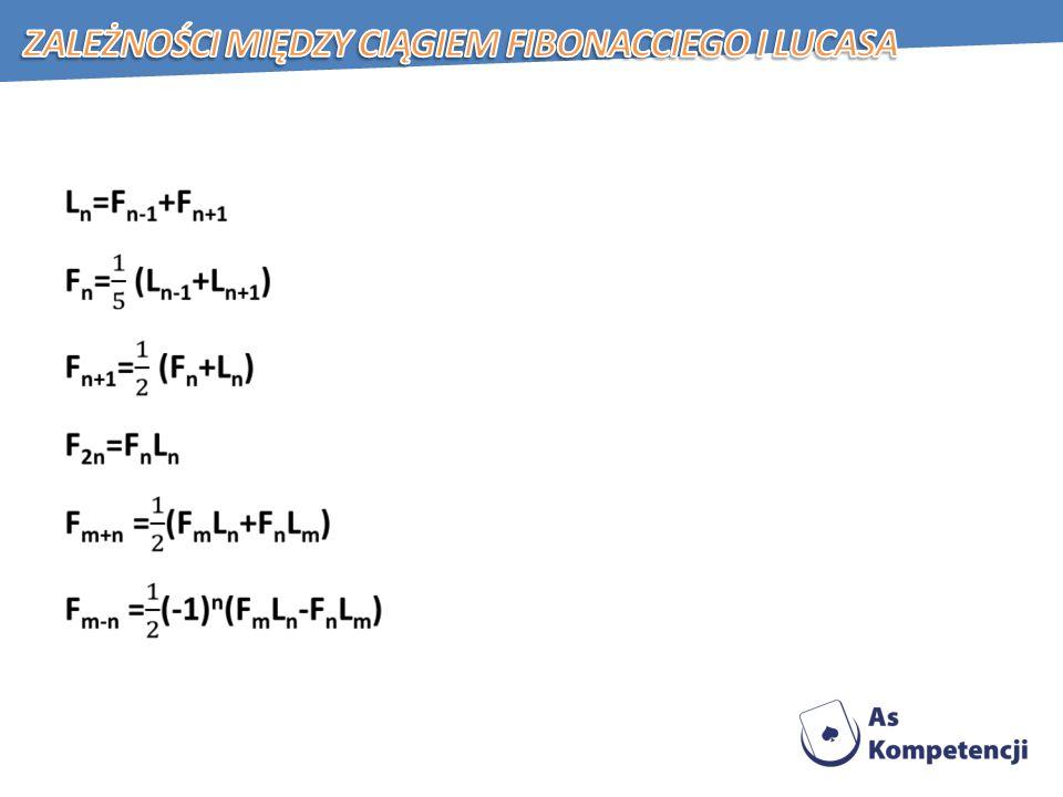 Zależności między ciągiem Fibonacciego i Lucasa