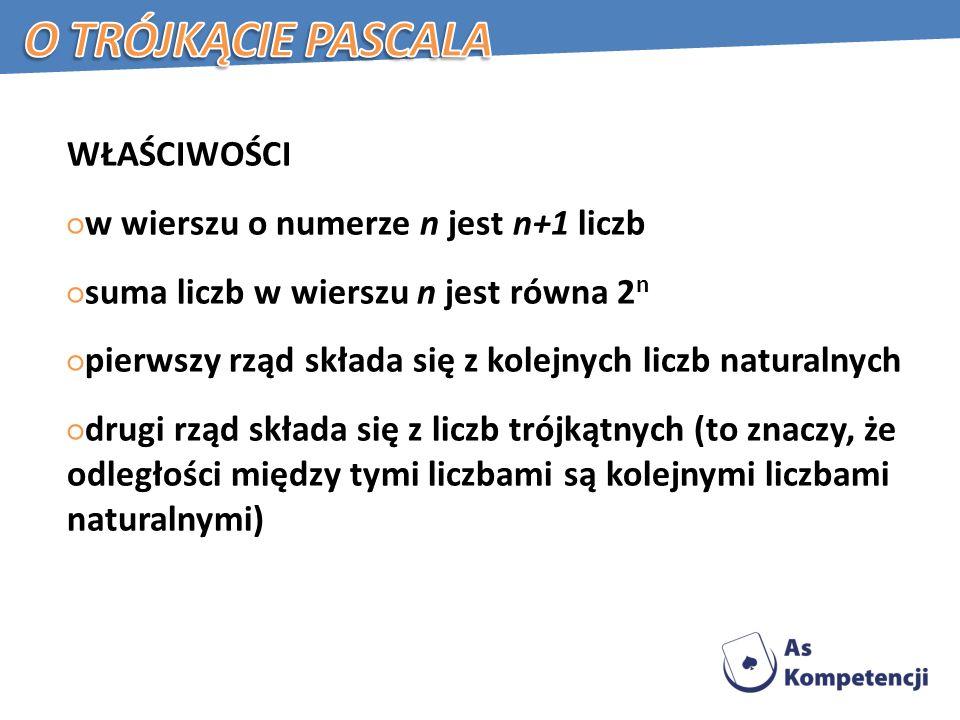 O trójkącie Pascala WŁAŚCIWOŚCI w wierszu o numerze n jest n+1 liczb