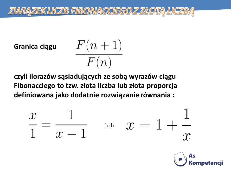 Związek liczb Fibonacciego z złotą liczbą
