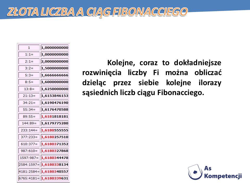 Złota liczba a ciąg Fibonacciego