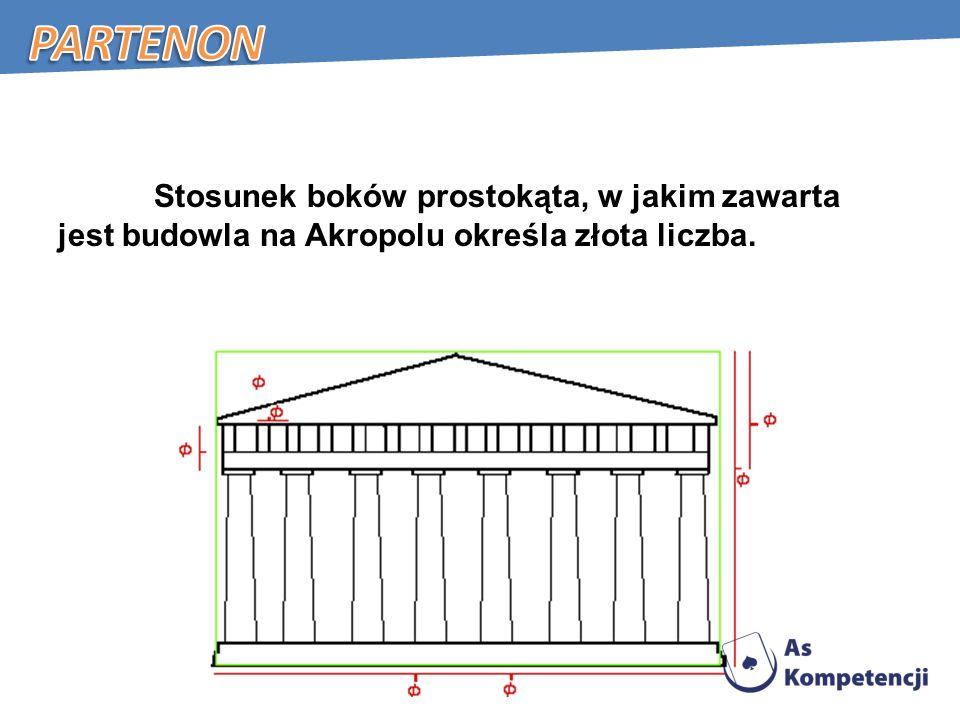 Partenon Stosunek boków prostokąta, w jakim zawarta jest budowla na Akropolu określa złota liczba.