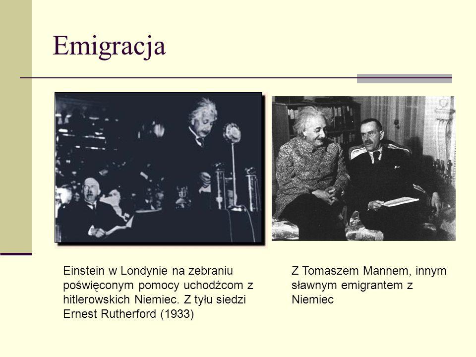Emigracja Einstein w Londynie na zebraniu poświęconym pomocy uchodźcom z hitlerowskich Niemiec. Z tyłu siedzi Ernest Rutherford (1933)