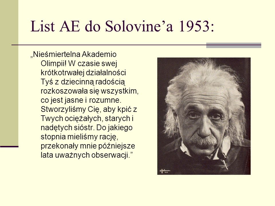 List AE do Solovine'a 1953: