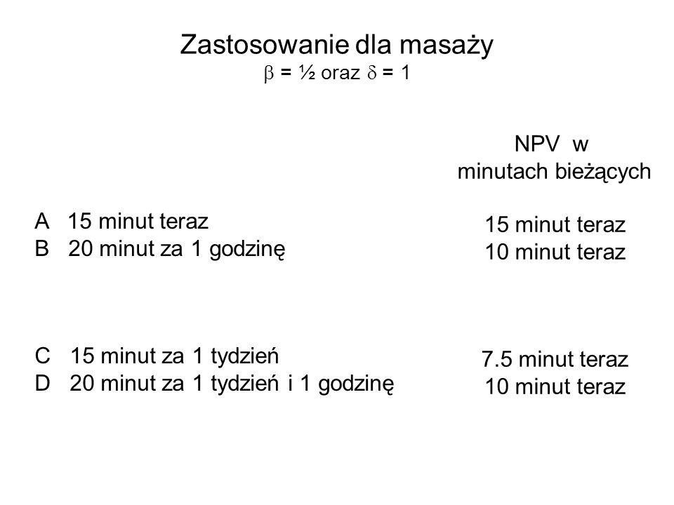 Zastosowanie dla masaży b = ½ oraz d = 1