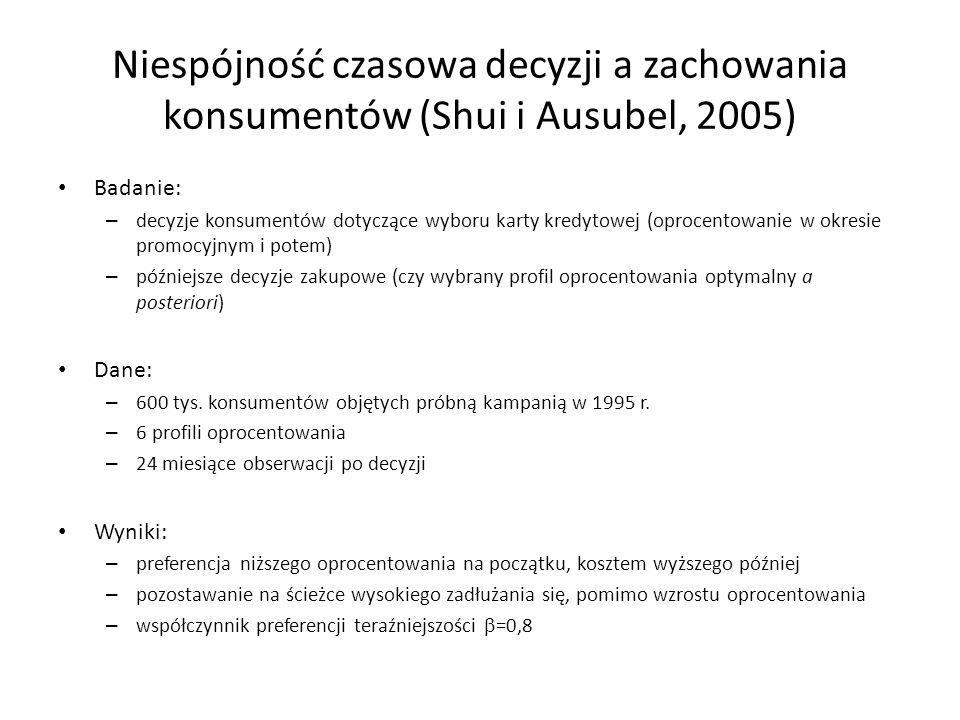 Niespójność czasowa decyzji a zachowania konsumentów (Shui i Ausubel, 2005)