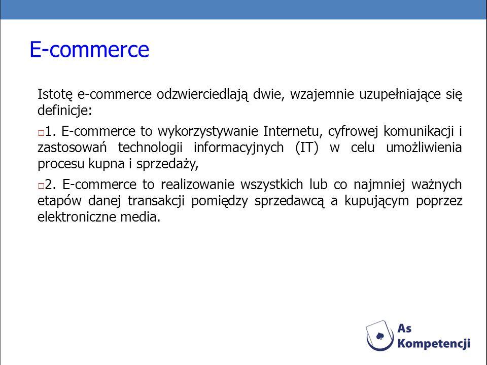 E-commerce Istotę e-commerce odzwierciedlają dwie, wzajemnie uzupełniające się definicje:
