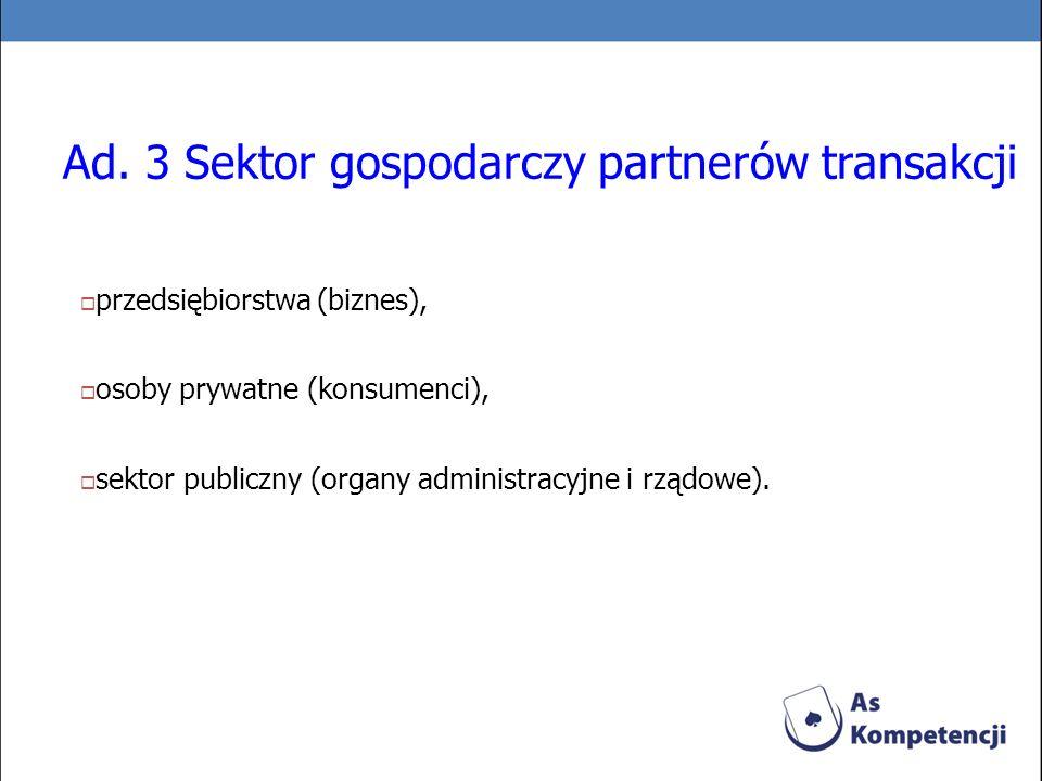Ad. 3 Sektor gospodarczy partnerów transakcji