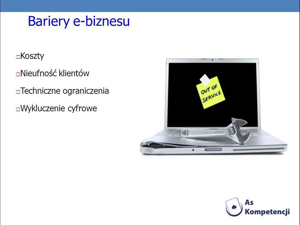 Bariery e-biznesu Koszty Nieufność klientów Techniczne ograniczenia