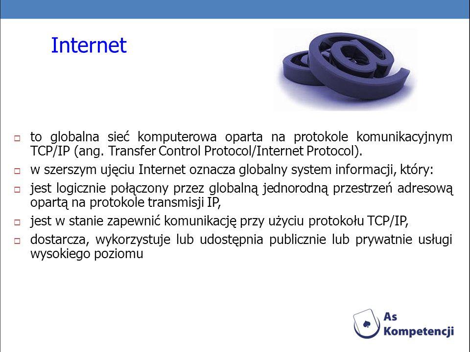 Internet to globalna sieć komputerowa oparta na protokole komunikacyjnym TCP/IP (ang. Transfer Control Protocol/Internet Protocol).
