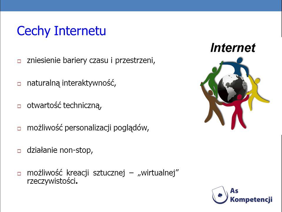 Cechy Internetu zniesienie bariery czasu i przestrzeni,
