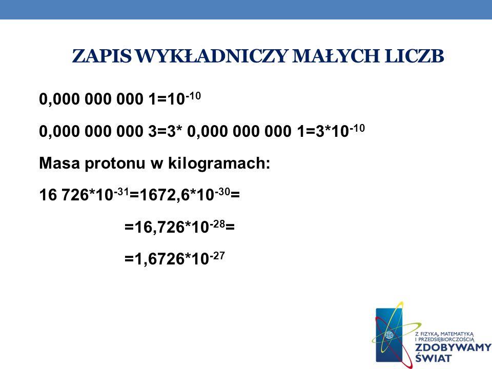 Zapis wykładniczy małych liczb
