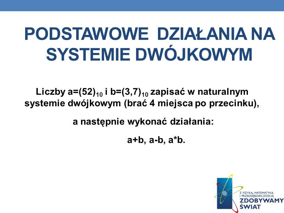 Podstawowe działania na systemie dwójkowym