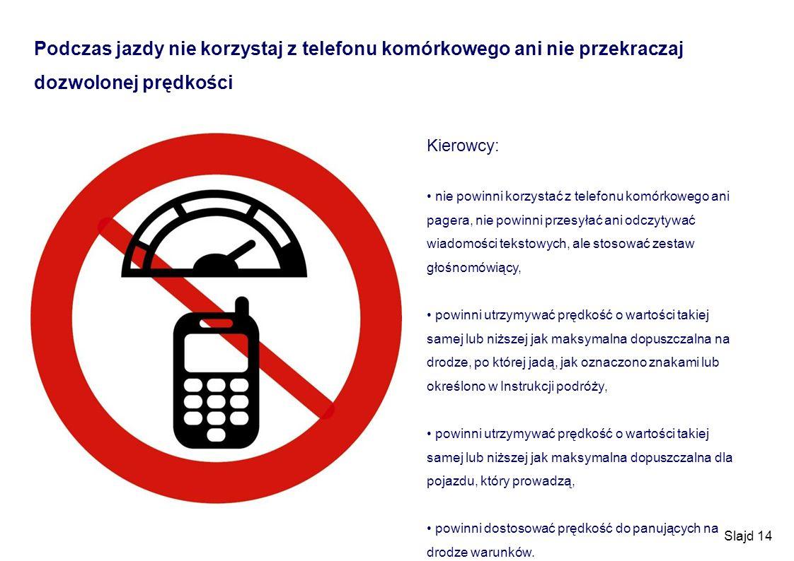 Podczas jazdy nie korzystaj z telefonu komórkowego ani nie przekraczaj dozwolonej prędkości