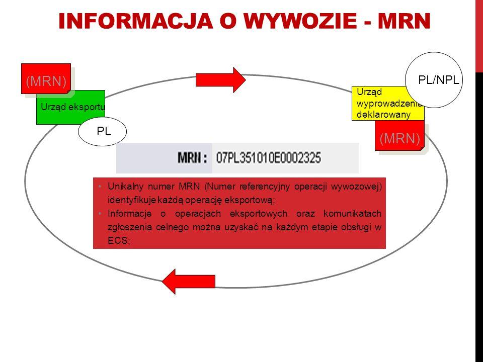 Informacja o wywozie - MRN