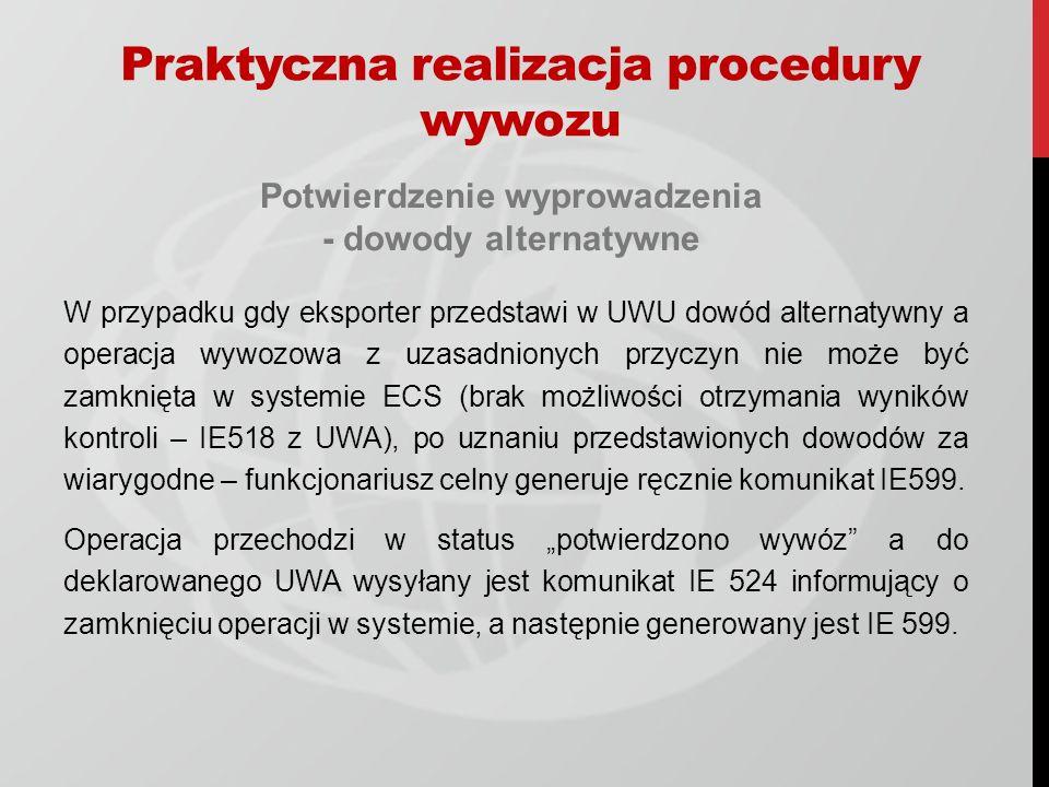 Praktyczna realizacja procedury wywozu Potwierdzenie wyprowadzenia