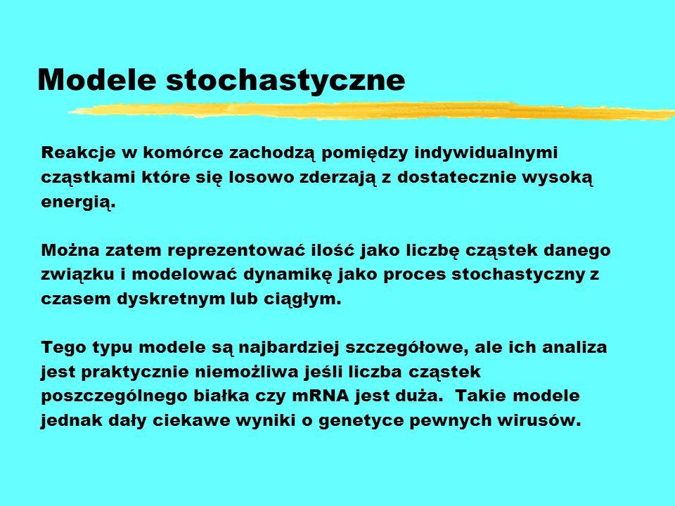 Modele stochastyczne Reakcje w komórce zachodzą pomiędzy indywidualnymi. cząstkami które się losowo zderzają z dostatecznie wysoką.