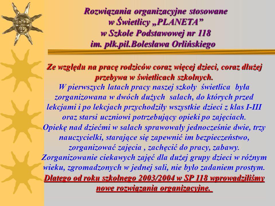 """Rozwiązania organizacyjne stosowane w Świetlicy """"PLANETA"""