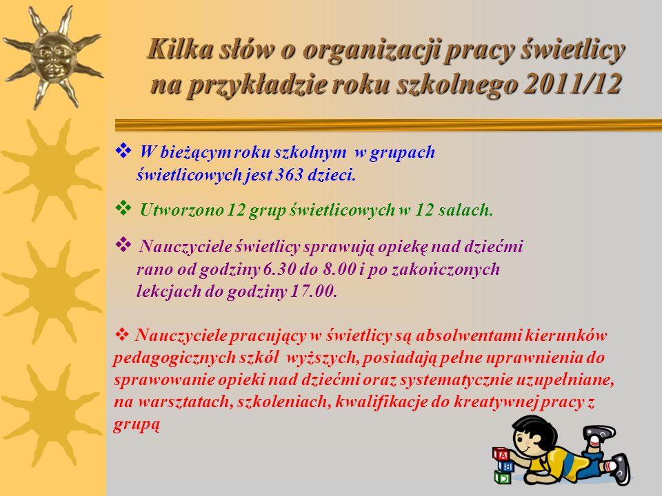 Kilka słów o organizacji pracy świetlicy na przykładzie roku szkolnego 2011/12