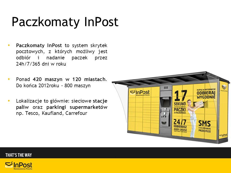 Paczkomaty InPost Paczkomaty InPost to system skrytek pocztowych, z których możliwy jest odbiór i nadanie paczek przez 24h/7/365 dni w roku.