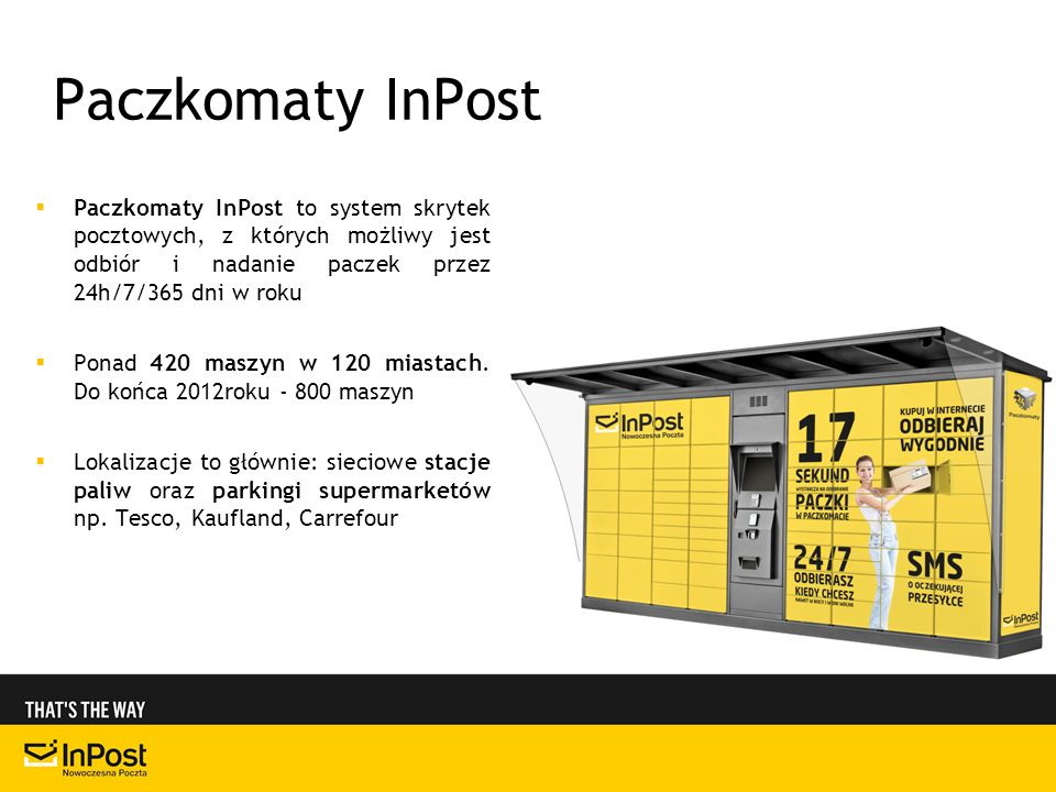 Paczkomaty InPostPaczkomaty InPost to system skrytek pocztowych, z których możliwy jest odbiór i nadanie paczek przez 24h/7/365 dni w roku.