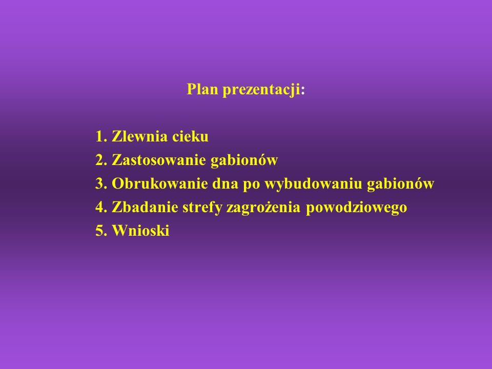 Plan prezentacji: 1. Zlewnia cieku. 2. Zastosowanie gabionów. 3. Obrukowanie dna po wybudowaniu gabionów.
