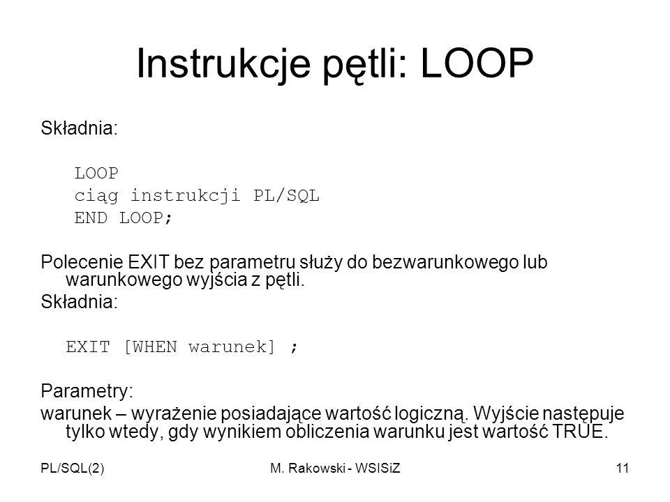 Instrukcje pętli: LOOP