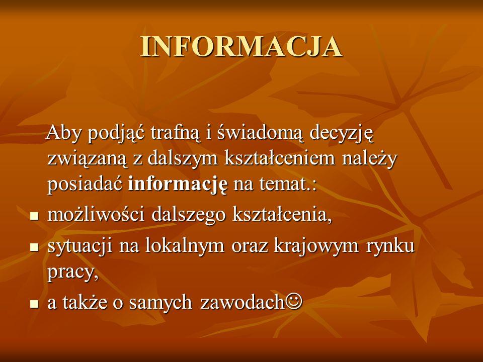 INFORMACJA Aby podjąć trafną i świadomą decyzję związaną z dalszym kształceniem należy posiadać informację na temat.: