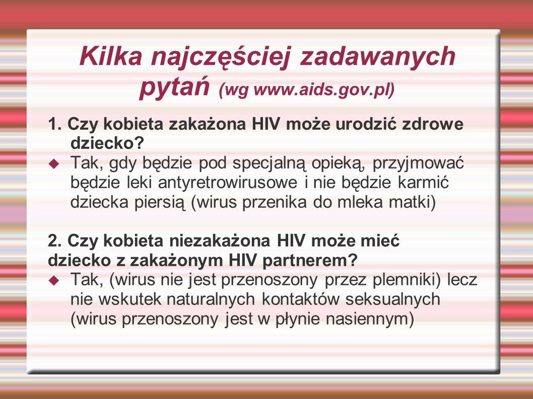 Kilka najczęściej zadawanych pytań (wg www.aids.gov.pl)