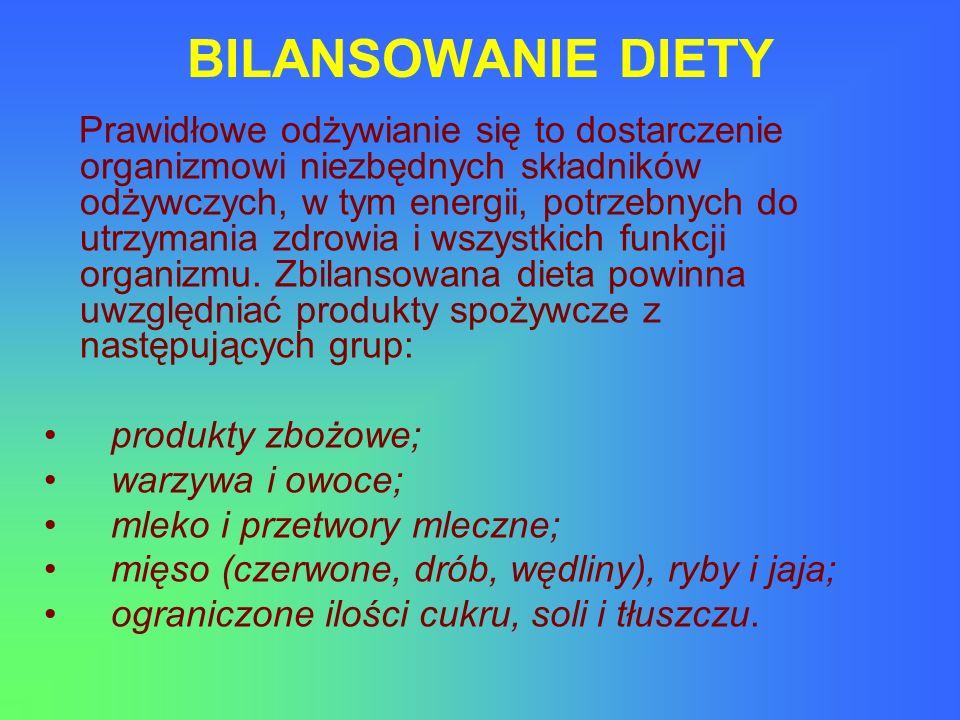BILANSOWANIE DIETY produkty zbożowe; warzywa i owoce;