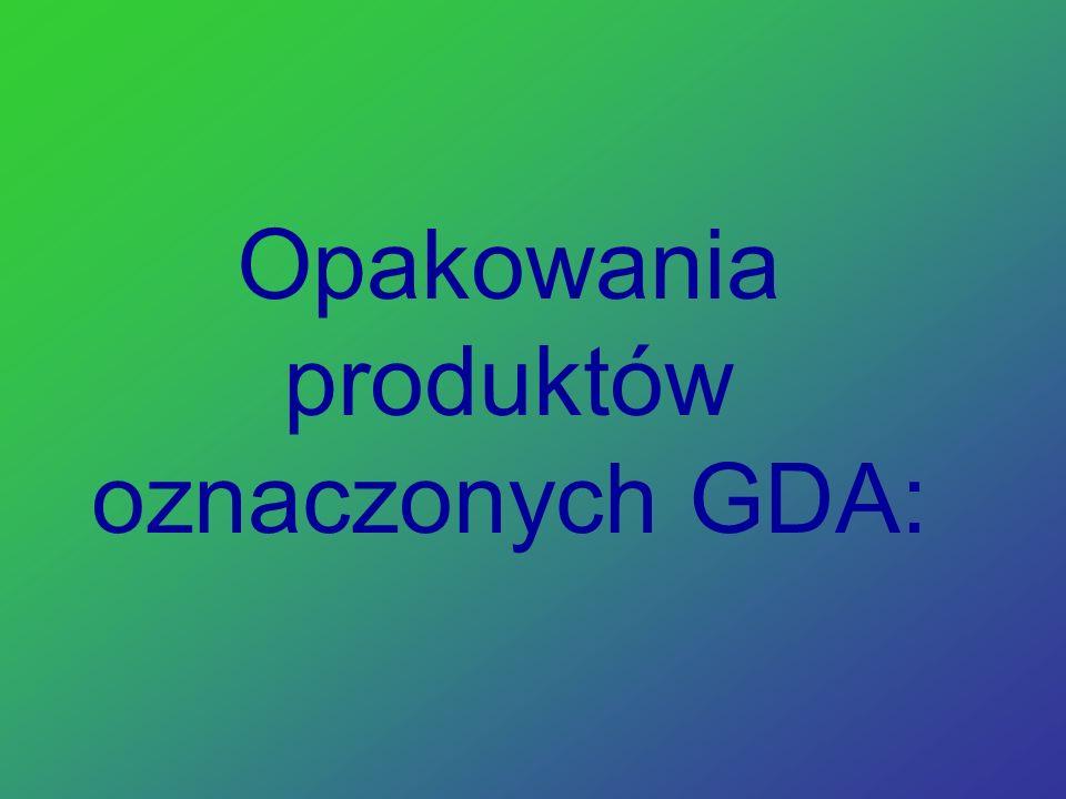 Opakowania produktów oznaczonych GDA: