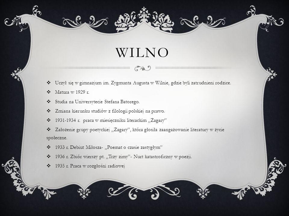 Wilno Uczył się w gimnazjum im. Zygmunta Augusta w Wilnie, gdzie byli zatrudnieni rodzice. Matura w 1929 r.