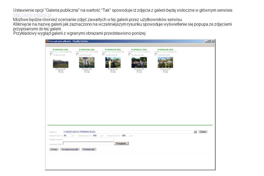 Ustawienie opcji Galeria publiczna na wartość Tak spowoduje iż zdjęcia z galerii będą widoczne w głównym serwisie http://www.ompzw.pl Możliwe będzie również ocenianie zdjęć zawartych w tej galerii przez użytkowników serwisu.
