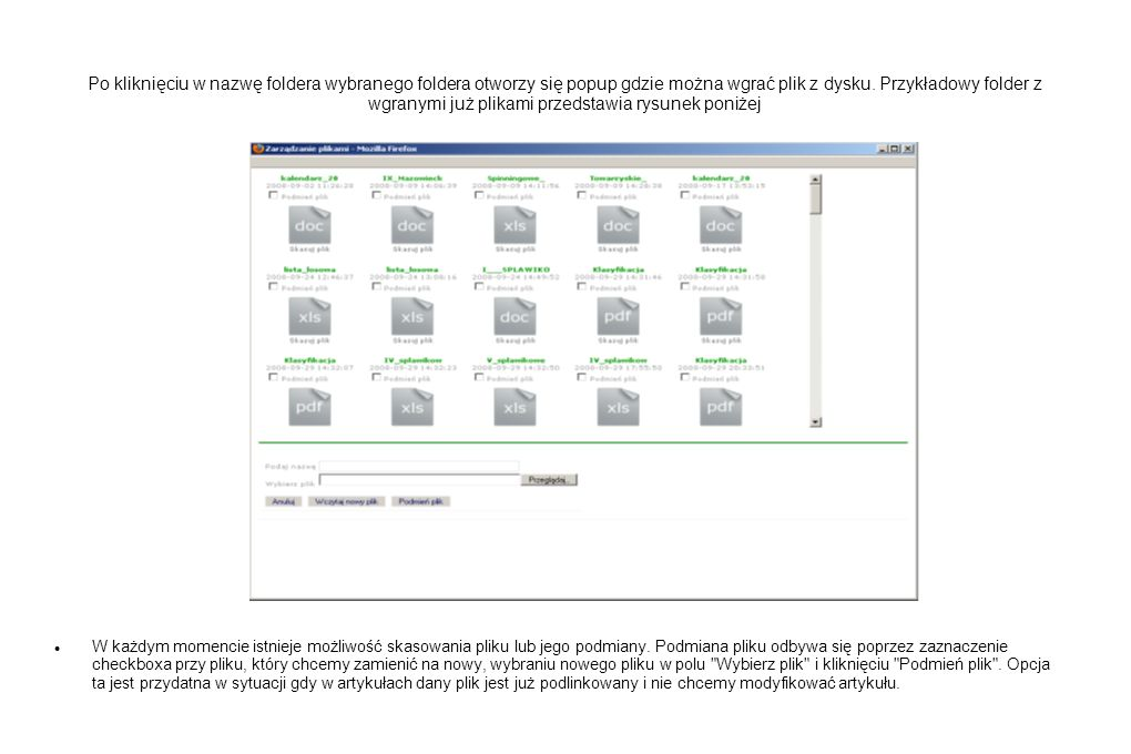 Po kliknięciu w nazwę foldera wybranego foldera otworzy się popup gdzie można wgrać plik z dysku. Przykładowy folder z wgranymi już plikami przedstawia rysunek poniżej